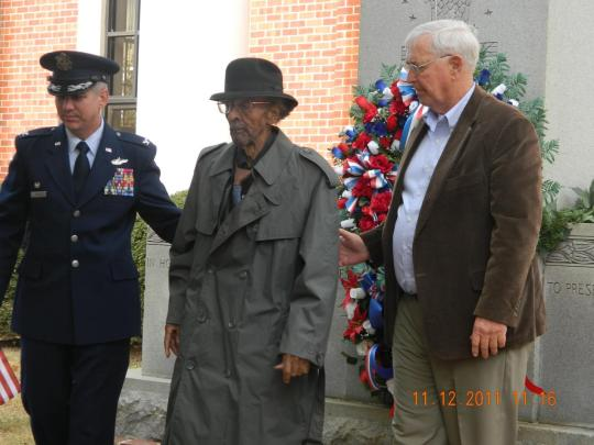 The wreath was laid by Barre R. Seguin, Commander, 14th Flying Training Wing, and Board of Supervisors President Harry Saunders