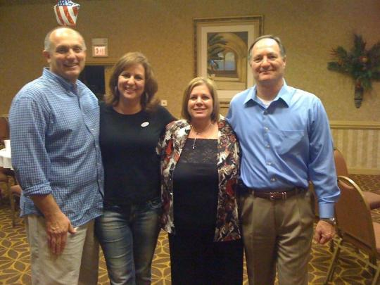 Marc Miley (Training Officer at Lowndes County Sheriff's Dept), Liza Shannon (Campaign Manager for Mike Arledge and teacher at New Hope Middle School), Patty Arledge (Mike's wife) and Mike Arledge Sheriff Elect) share in the celebration at the Holiday Inn