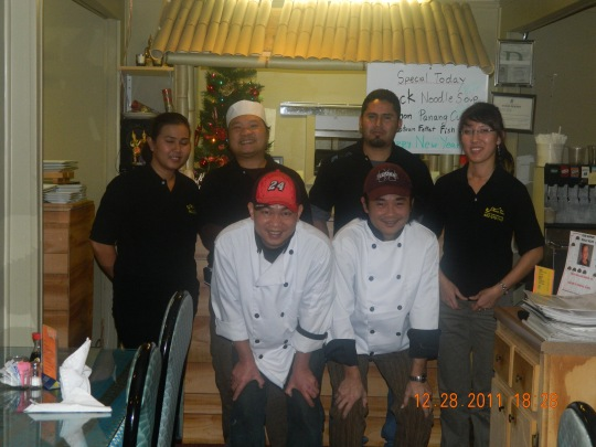 The hard working crew - Bee Pitcha Kasa (owner), Praphai Manning (owner), Lloyd Chanachai (owner), Pinky Chompoonut (server), Art Armon (Sushi Chef), and Rabbit Phodhida (Thai Chef)